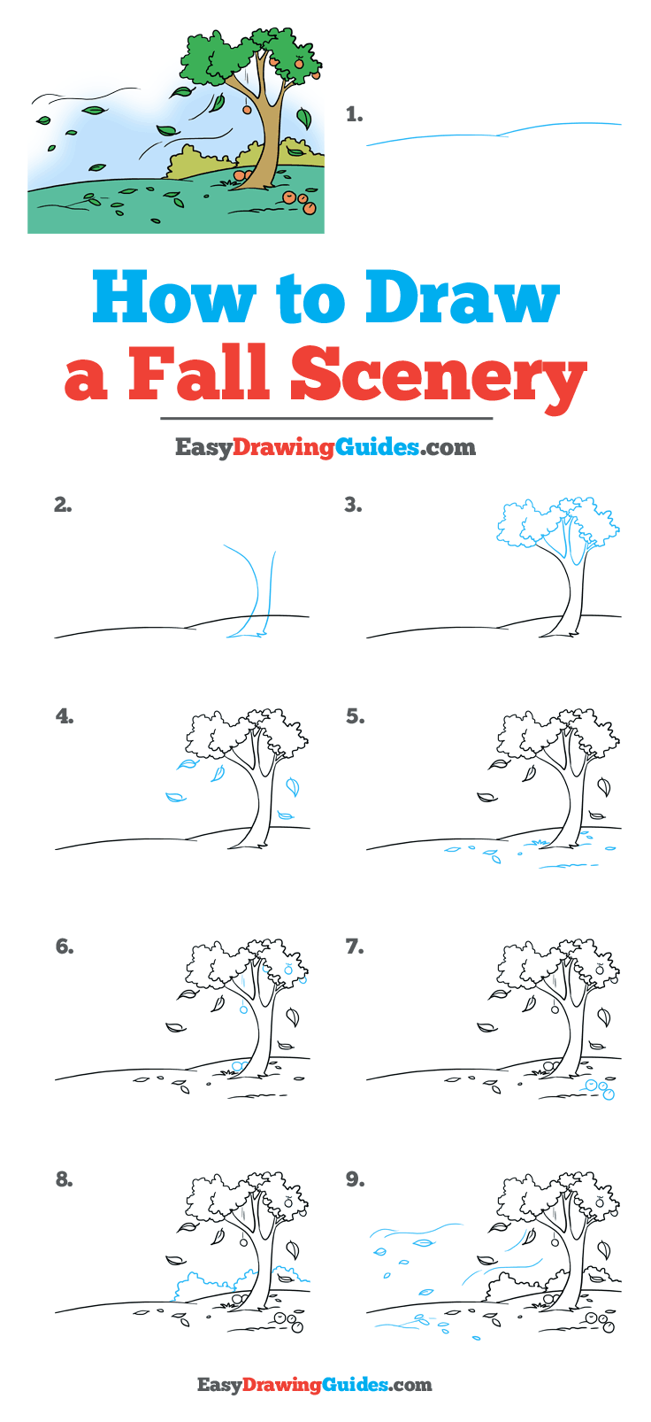 How to Draw Fall Scenery - Really Easy Drawing Tutorial #fallscenery Learn to draw a fall scenery. This step-by-step tutorial makes it easy. Kids and ...#draw #drawing #easy #fall #fallscenery #kids #learn #really #scenery #stepbystep #tutorial