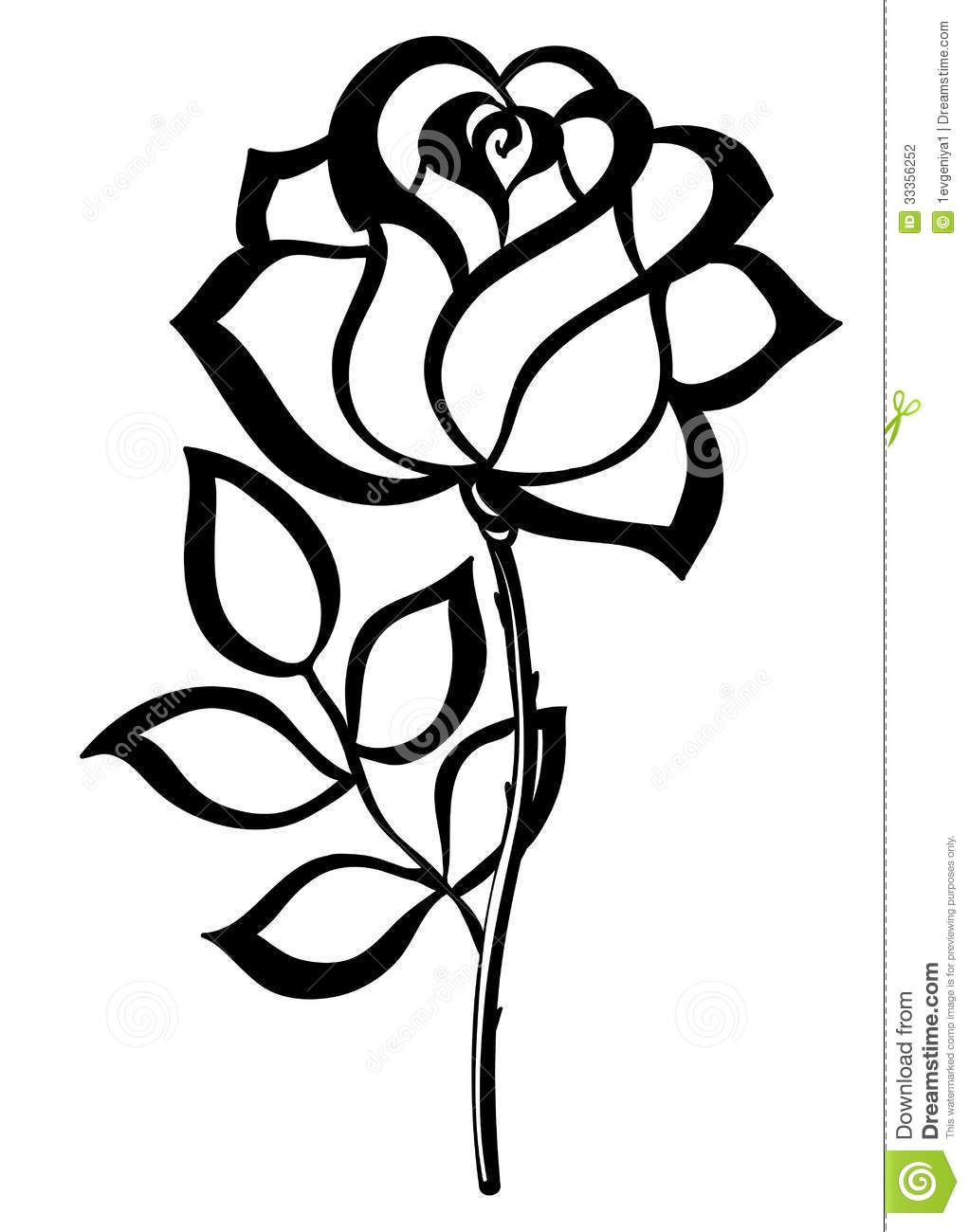 Simple rose outline simple single rose outline black for Simple single