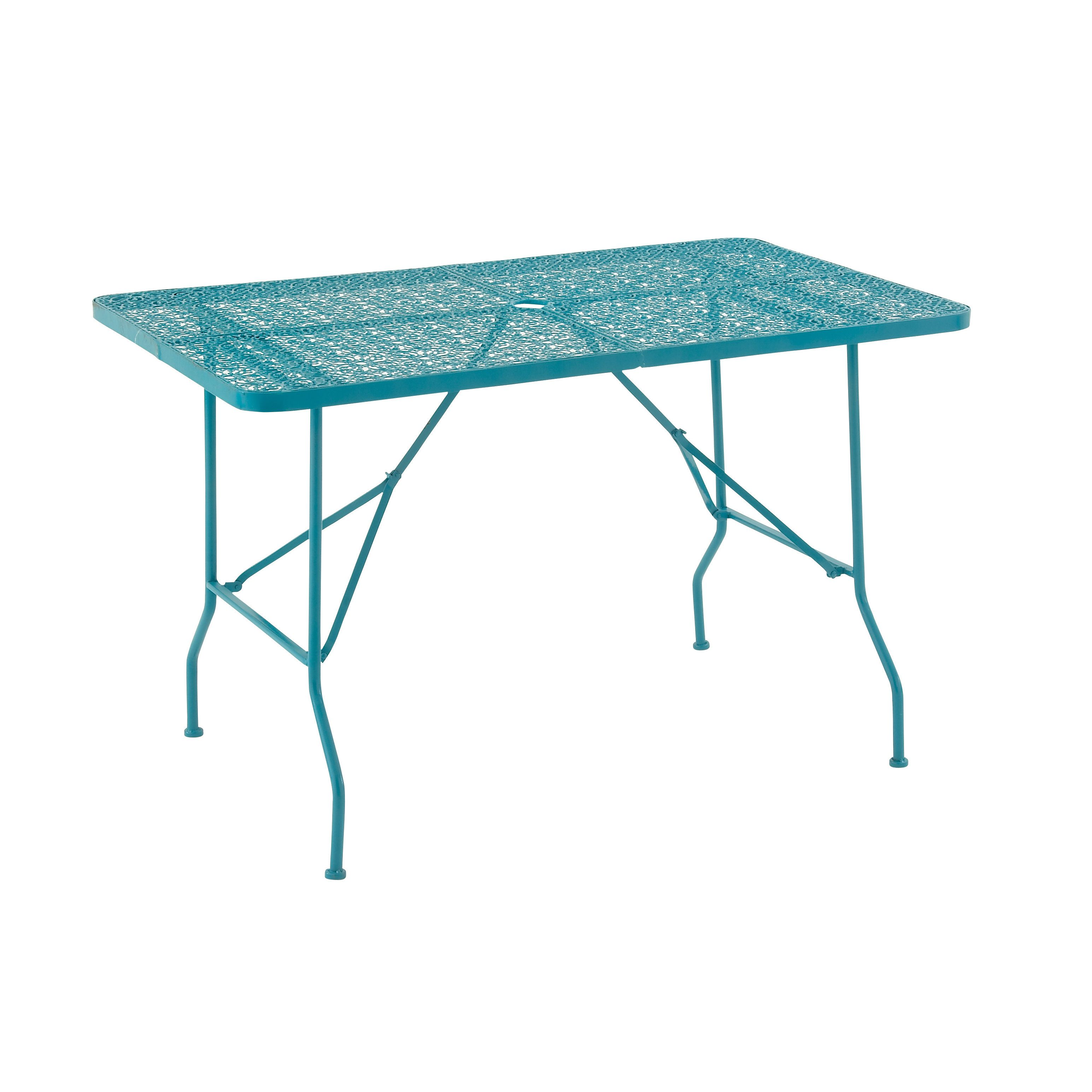 Studio quirky metal folding outdoor table blue patio furniture