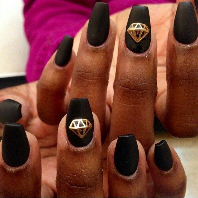 Matte Black Gold Diamond Nails @daily_charme | Nails | Pinterest ...