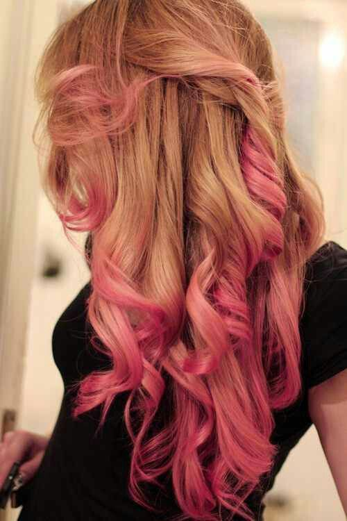 Blonde Honey Colored Hair With Pink Ends Curly Hair Pink Ombre