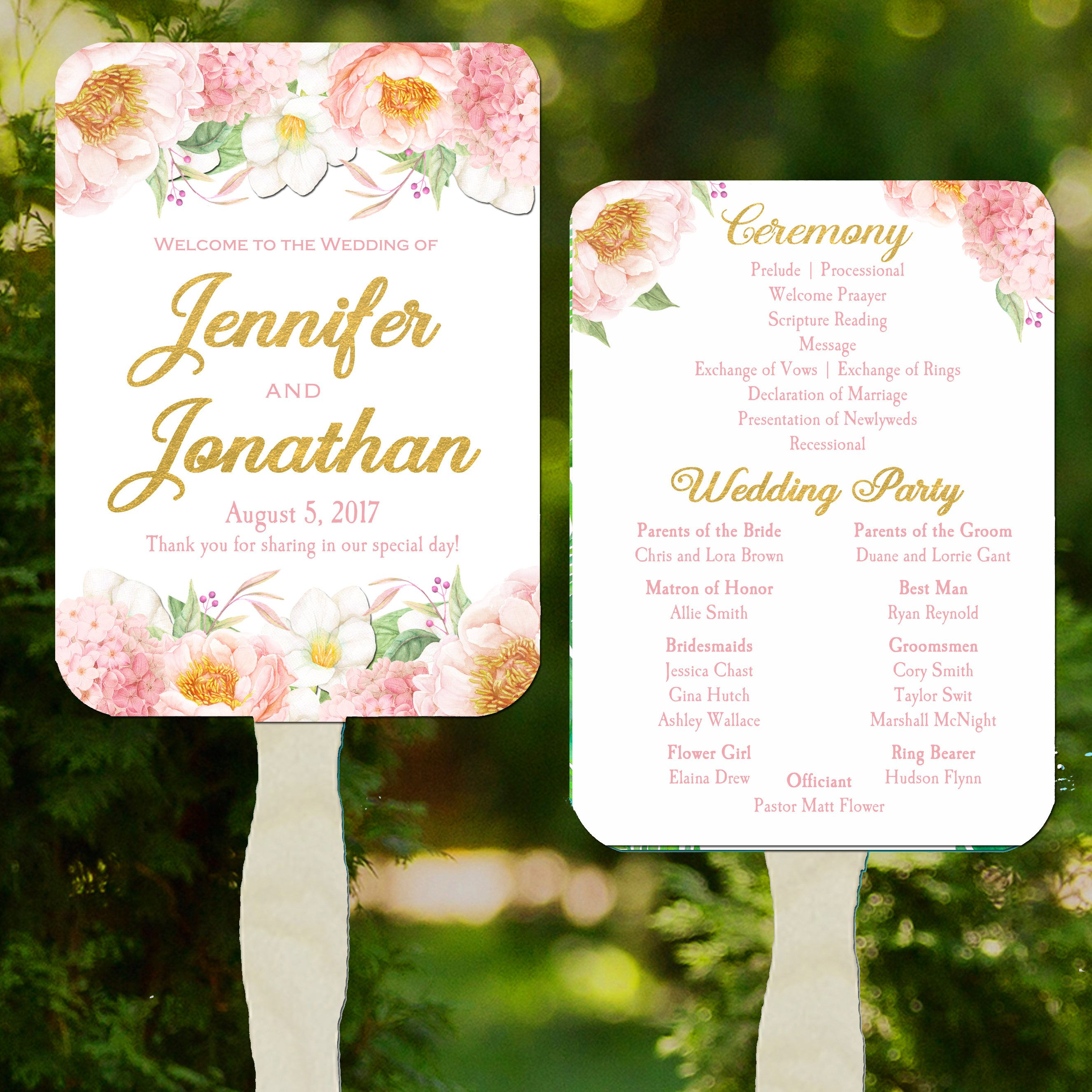Wedding program fans printable or printedassembled with free