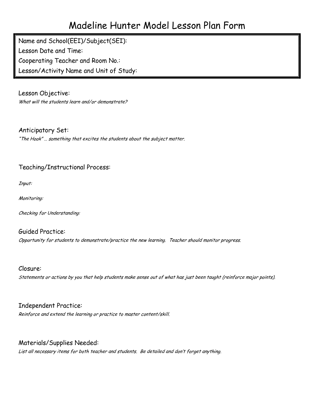 Madeline Hunter Lesson Plan Format Template Google Search Th - Madeline hunter lesson plan blank template
