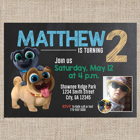 Puppy Dog Pals Birthday Invitation With Photo Puppy Dog Pals Chalkboard Invitation With Photo Digital File With Images Puppy Party Birthday Invitations Birthday