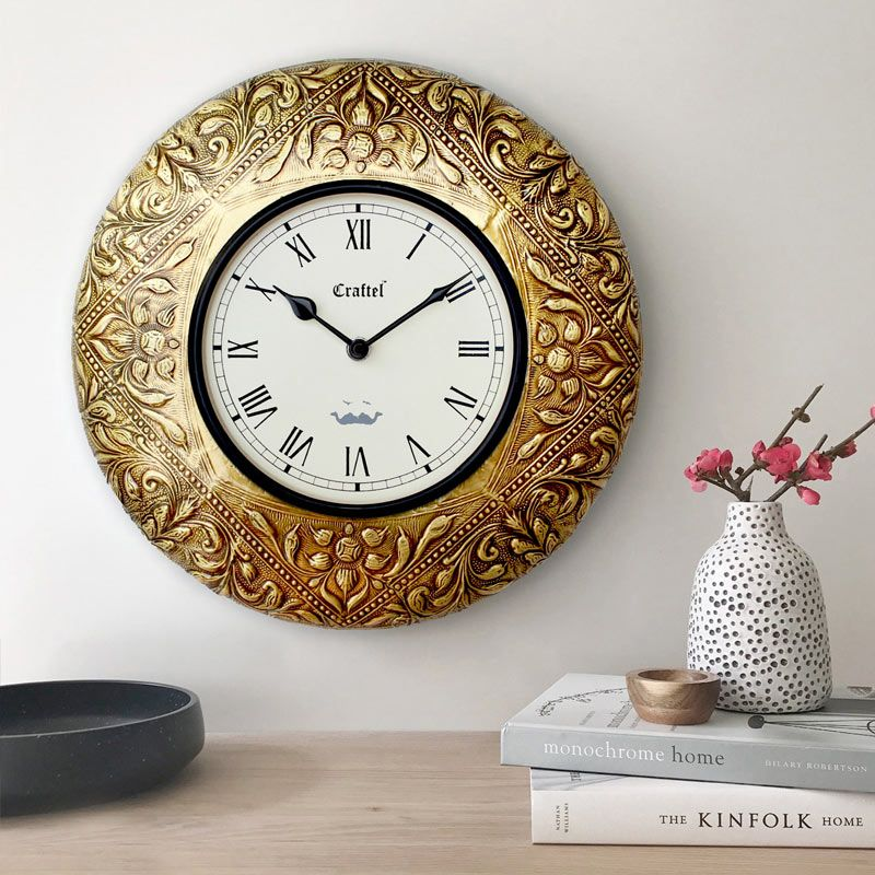 Buy Antique Golden 12 Inch Brass Metal Decorative Wall Clock Online In India In 2020 Wall Clock Clock Wall Decor Clock