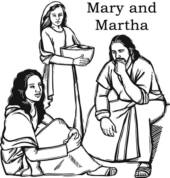 coloring pages bible jesus mary | Jesus with Mary and Martha Color Page | Ministry - VBS ...