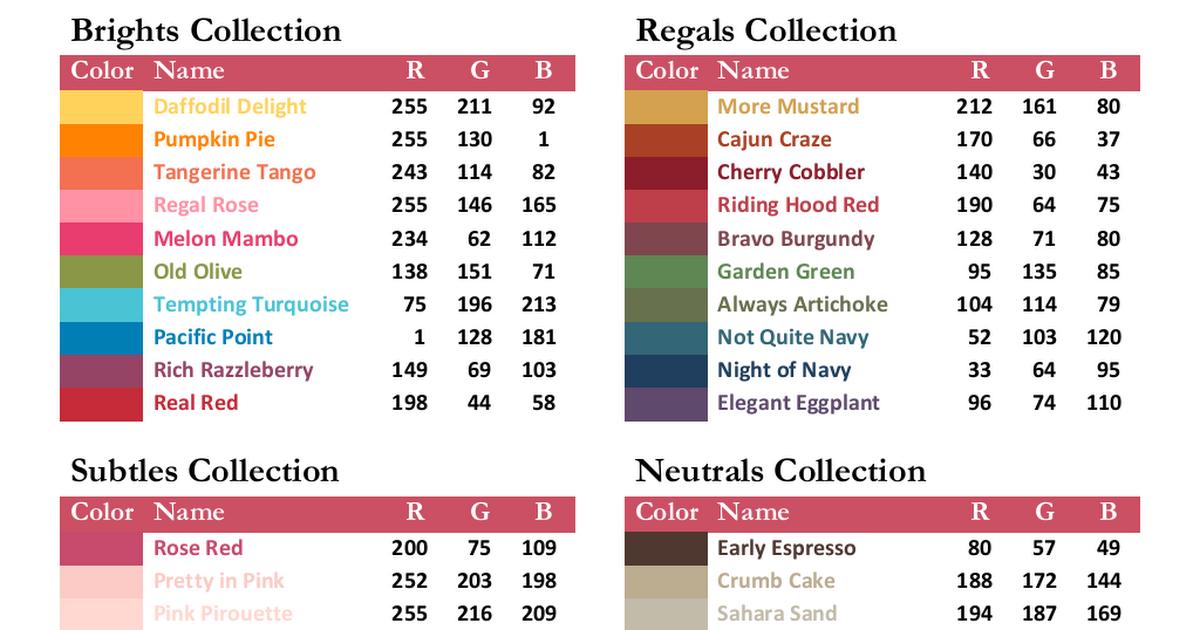 RGB Color Codes SU 2011-12.pdf | Rgb color codes, Stampin ...