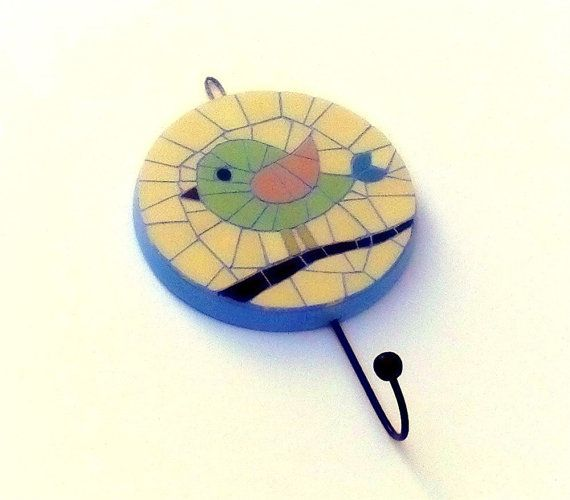 Mosaic wall hook with bird