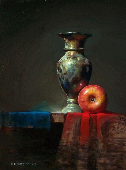 Red Cloth Blue Cloth Oil on Panel 12 x 9 - David Cheifetz