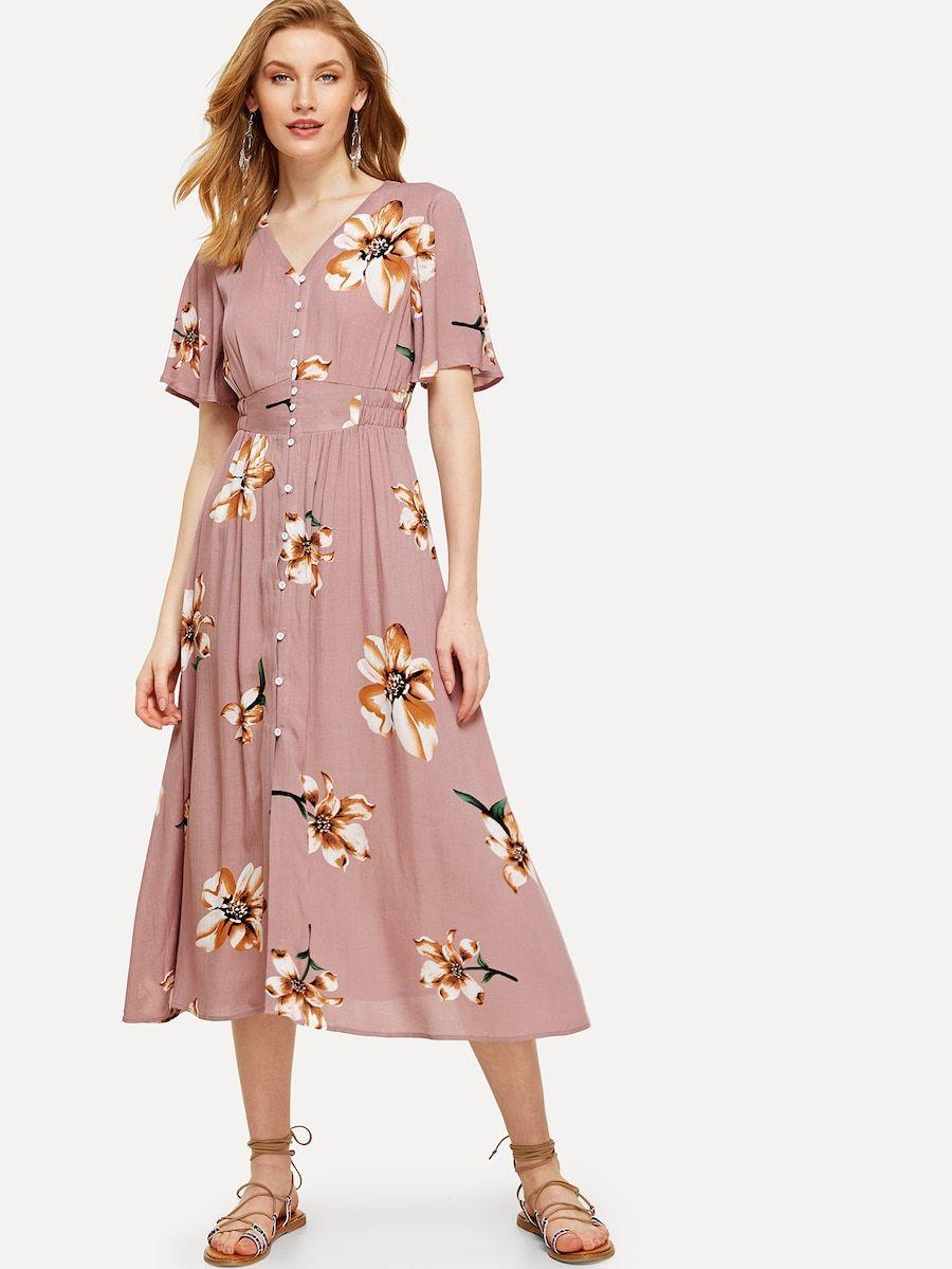 Button Up Elastic Waist Floral Dress Shein Sheinside Dresses Modest Dresses Fashion [ 1199 x 900 Pixel ]