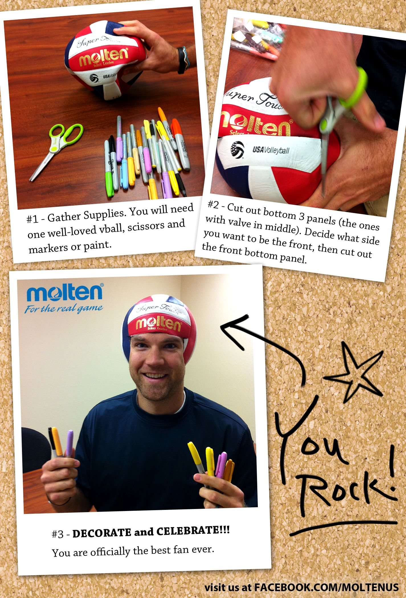 How To Make A Volleyball Fan Cap Now That Is A Super Fan Visit Us At Http Fb Com Moltenus Play Volleyball Volleyball Volleyball Mom