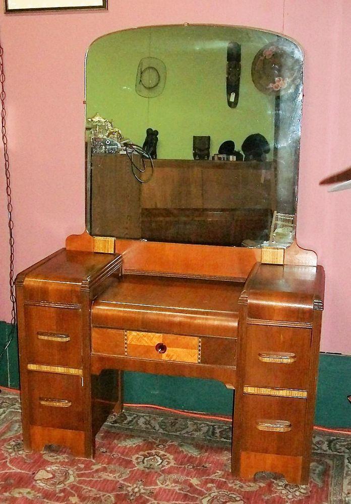 Antique 1920's Art Deco Waterfall Vanity with Mirror. Dresser Desk - Antique 1920's Art Deco Waterfall Vanity With Mirror. Dresser Desk