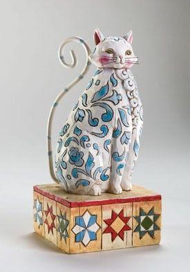 Evangeline Cat Figurine, Grey and White Cat