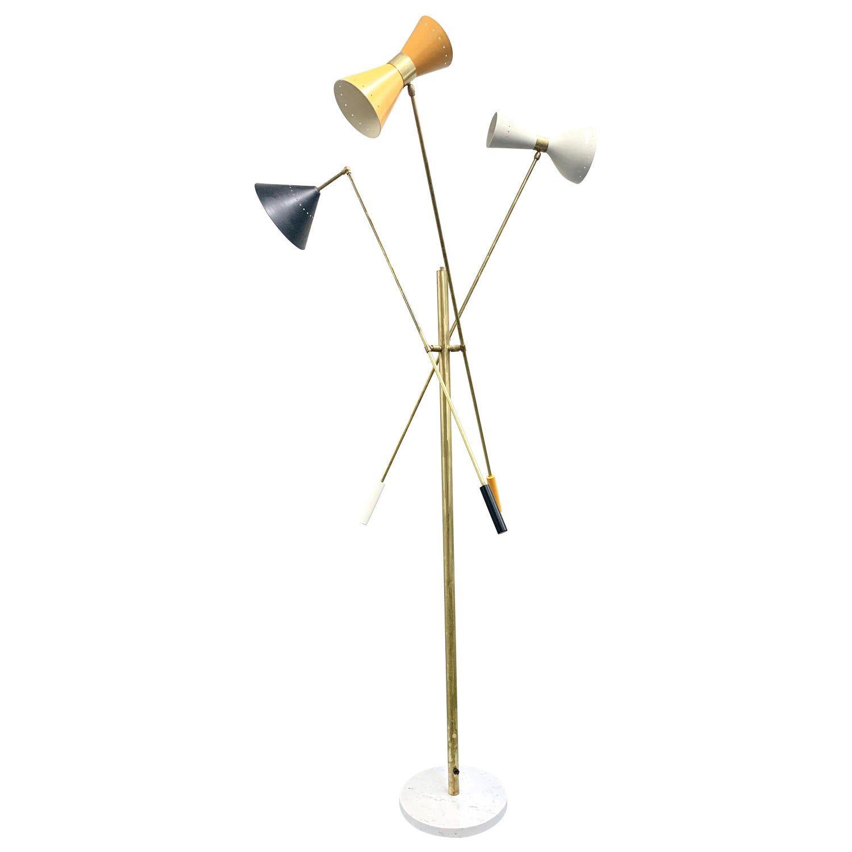 Multi Color Italian Three Arm Floor Lamp Triennale Style In