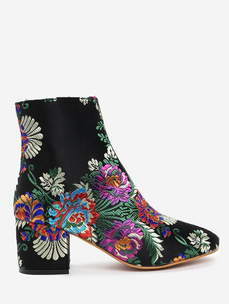 Embroidery Flower Ankle Boots | Floral boots, Boots, Winter