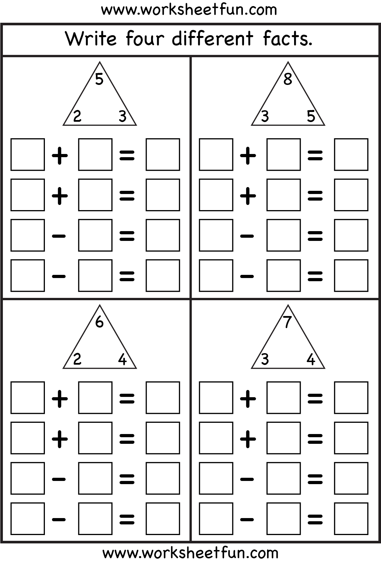 Fact Family – Complete each fact family – 4 Worksheets   Fact family  worksheet [ 1970 x 1324 Pixel ]