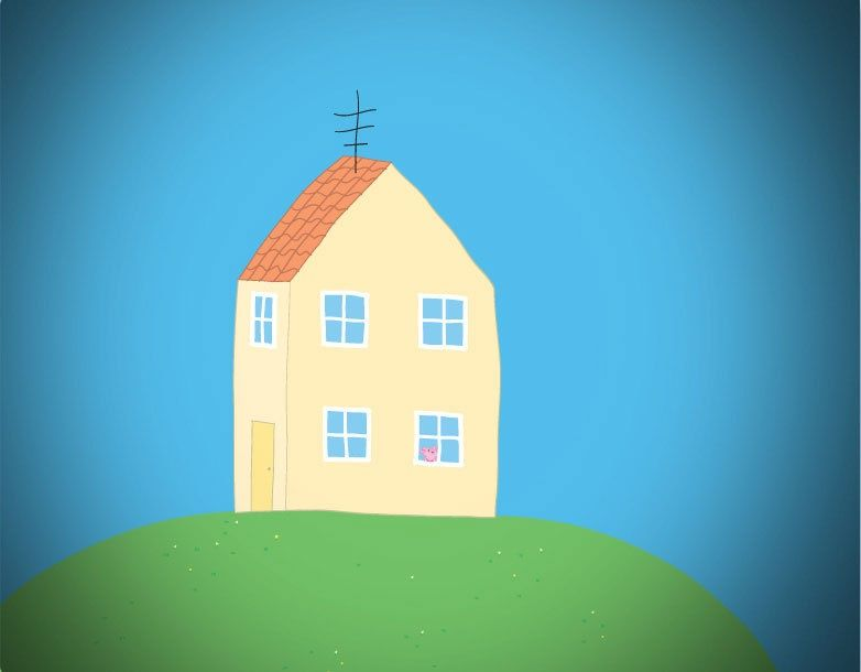Peppa Pig House On Hill - Peppa