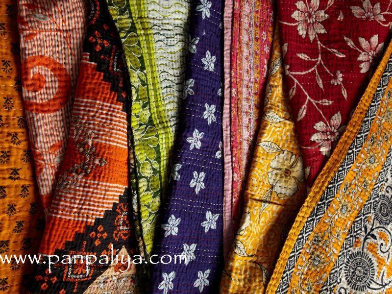 bohemian umbrellas | Handmade indian kantha quilts | Catches My ... : indian sari quilts - Adamdwight.com