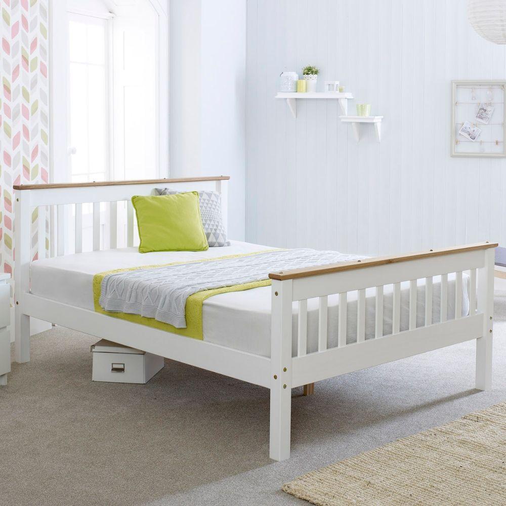 3ft Single Bed Pine Wooden Bed Frame /& Mattress Bedroom Furniture White Oak Top