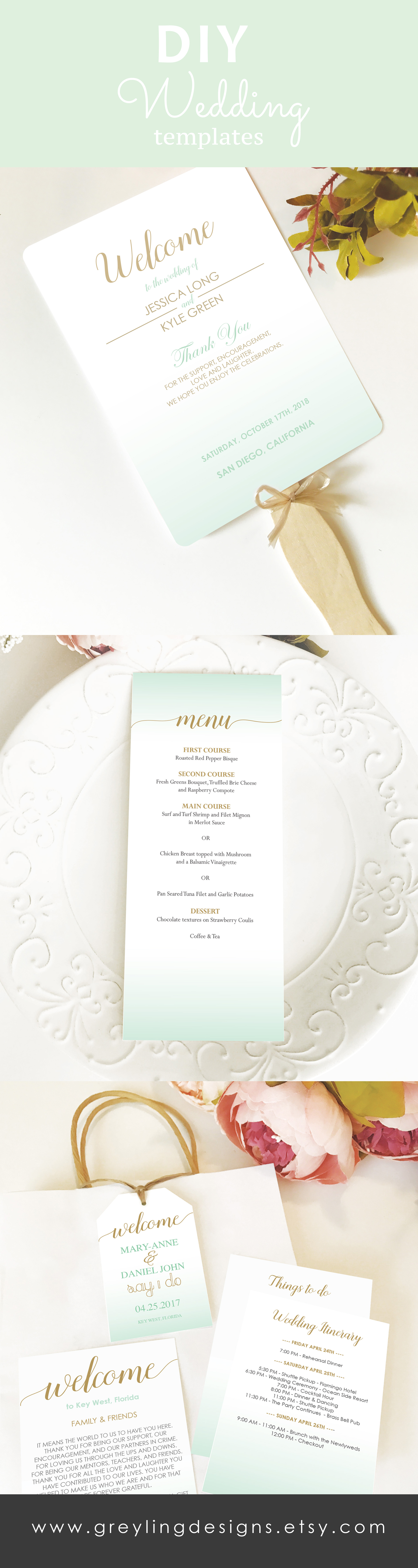 Mint green and gold wedding stationery, DIY wedding template, Mint ...