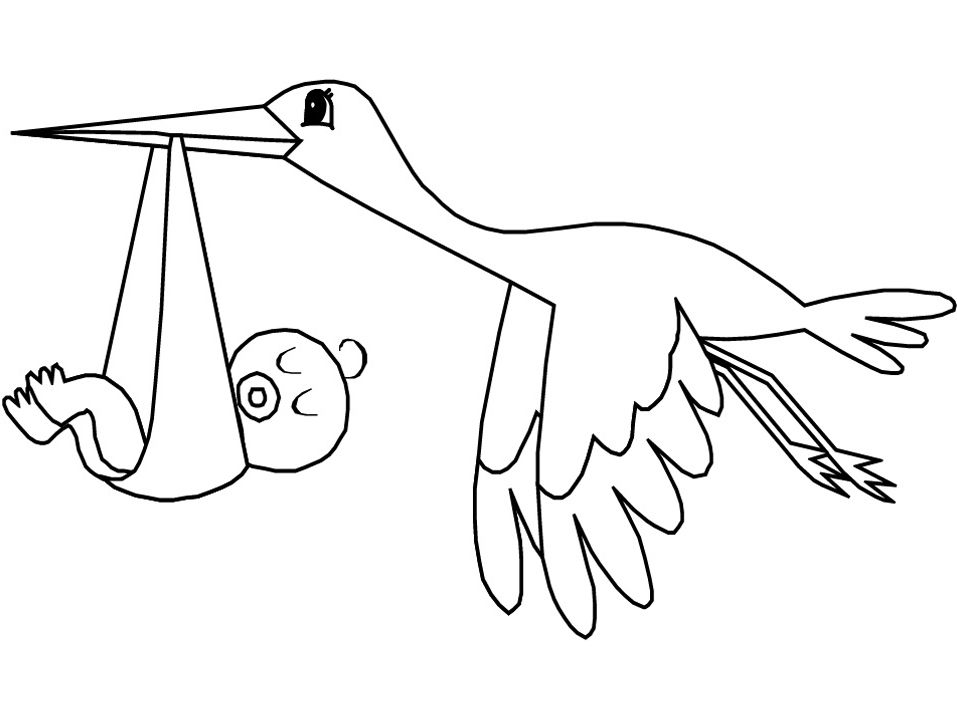 Flying Stork Bird With Baby Coloring Pages For Kids Baby