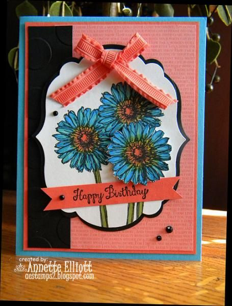 FMS #155: Coral and Turquoise Bday by AEstamps2 - Cards and Paper Crafts at Splitcoaststampers
