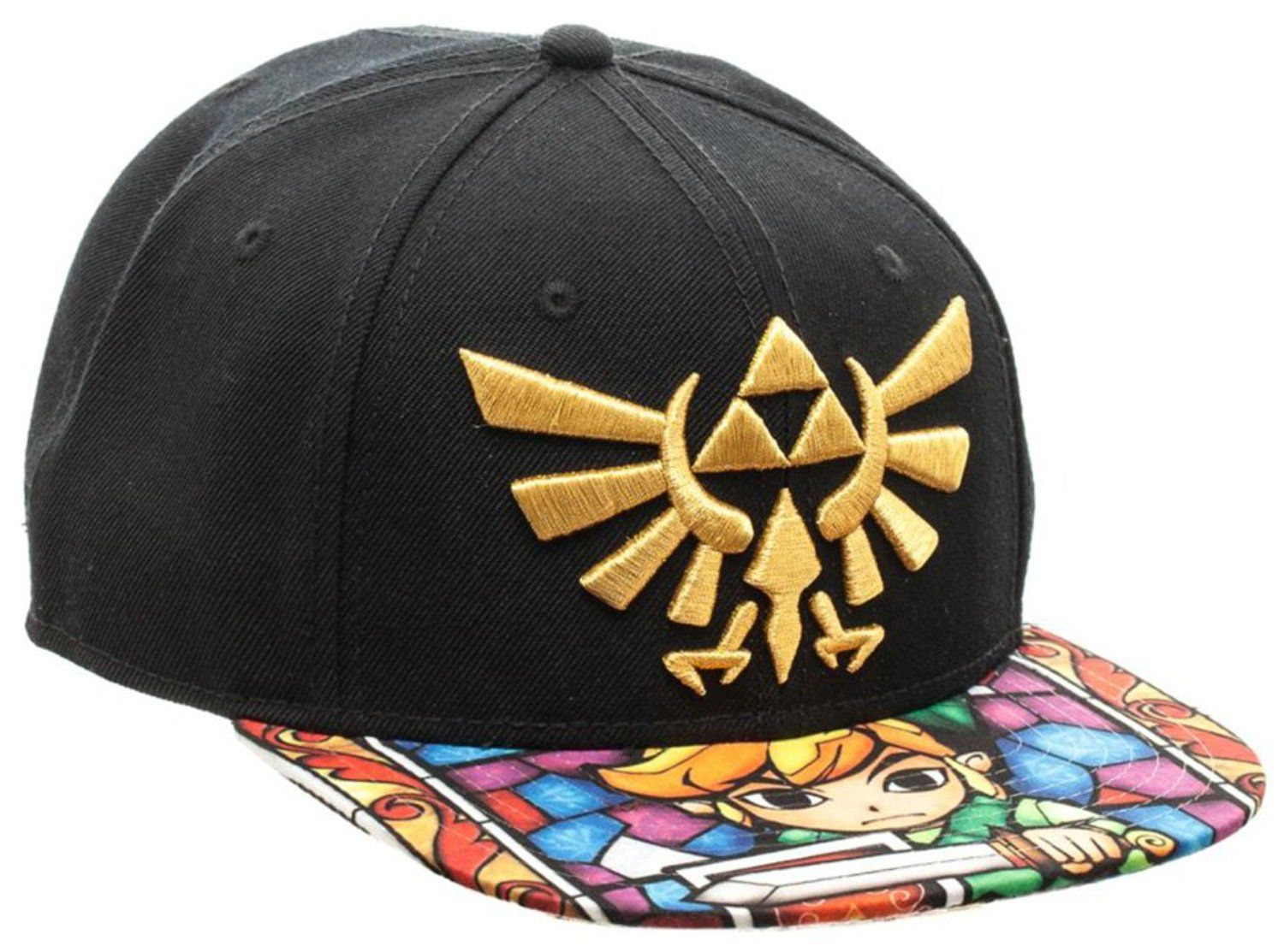 6c8b02bc Amazon.com: Zelda- Stained Glass Sublimated Snapback Hat Size ONE SIZE:  Clothing