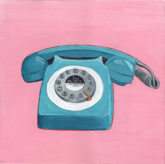 Teal Telephone - Retro Pop Illustration Painting of Vintage Phone (2019) Acrylic painting by Eleanore Ditchburn #retropop