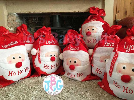 Perfect for Christmas gifts! Embroidered Personalized Santa Sacks