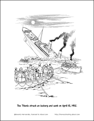 Titanic Worksheets and Coloring Pages