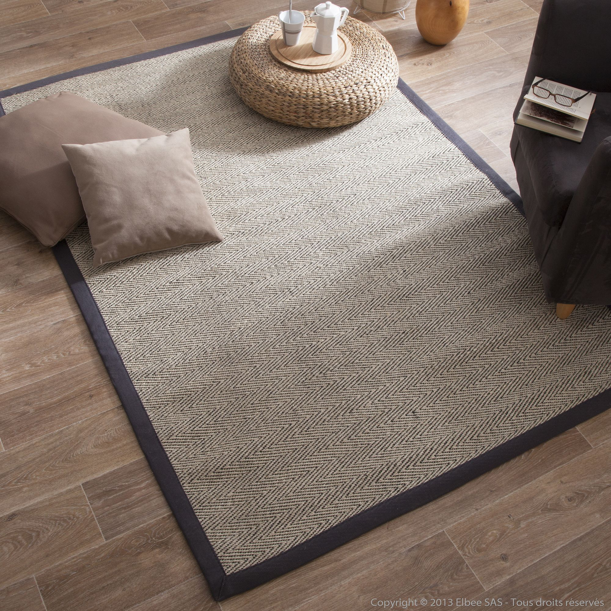 tapis sisal bicolore chevrons avec ganse en coton essential port offert - Tapis Sisal