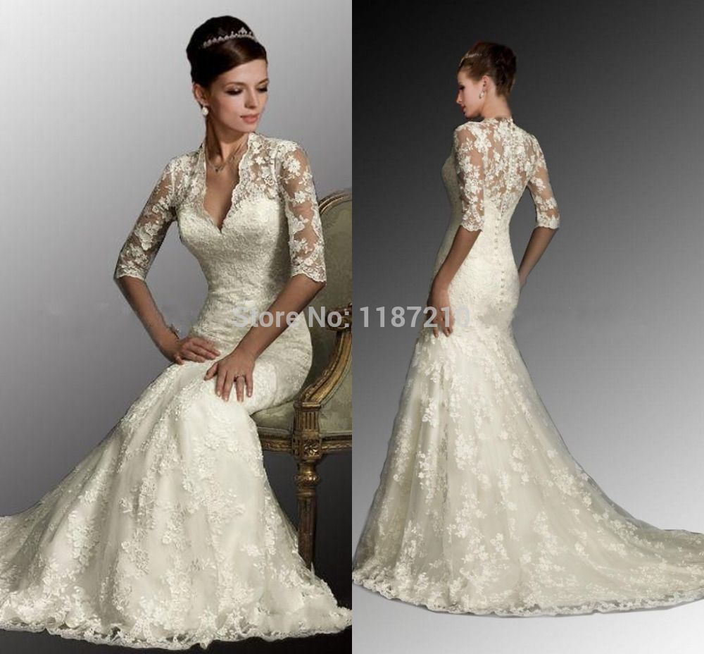 White Ivory Vintage Wedding Dresses Lace Mermaid Sheer Half Sleeves Bridal Gowns Plus Size Bolero Winter