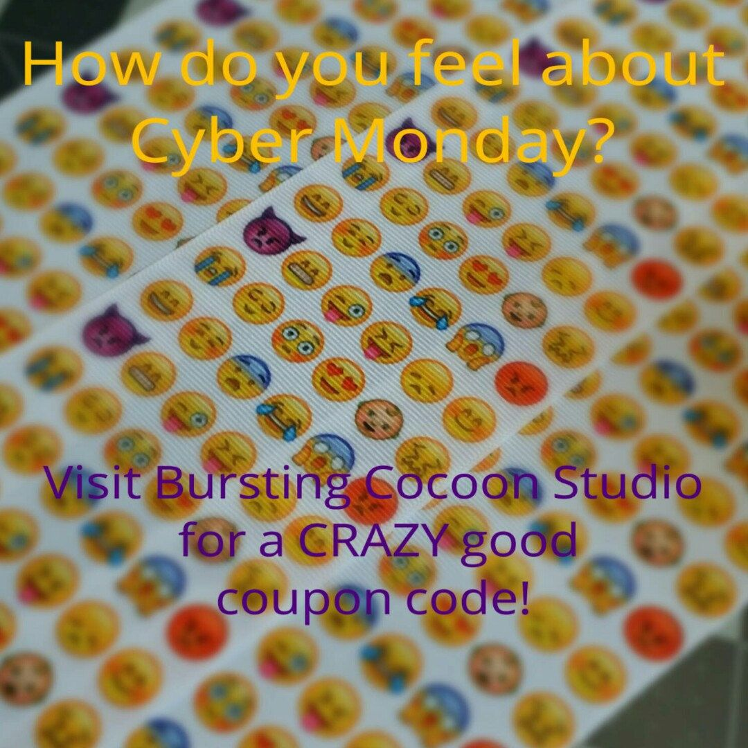 I must make every one of these #emoji faces while making a #cheerbow ! Hope you are happy this Cyber Monday! Check out the shop announcement for today's #couponcode ! #sale #emojibow