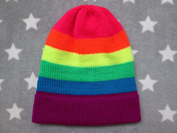 Mens Ladies Gay Pride Beanie Striped Slouchy Cotton Hats Lesbian Slouchie Hat