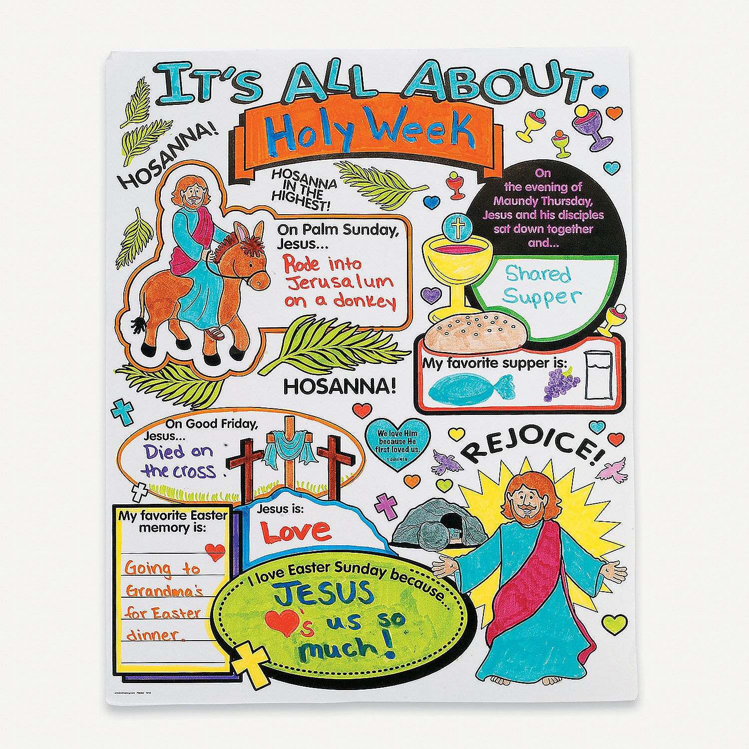 Color Your Own All About Holy Week Posters