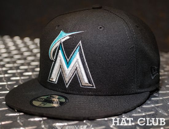 d633d82b411 Custom Miami Marlins 59Fifty Fitted Cap   HAT CLUB
