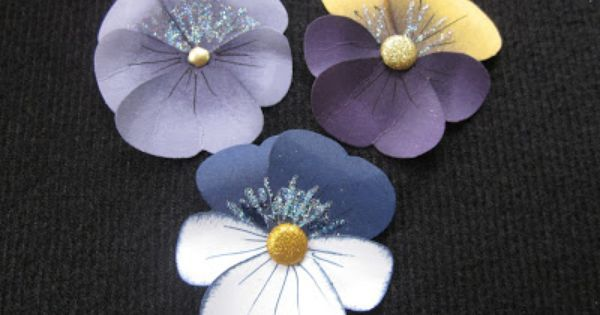 Liked on Pinterest: sweet handcrafted paper pansies ... luv the realistic coloring of these punch art pansies .... could be violets ... Stampin' Up!