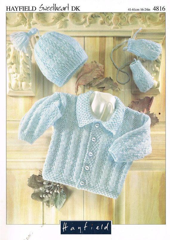 Knitting Pattern Chest Sizes : baby cardigan vintage knitting pattern 16 - 24 inch chest sizes double knitti...