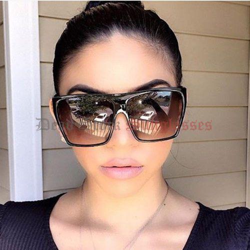 designer oversized sunglasses  POLARIZED Womens BLACK Flat Top OverSized Sunglasses square ...