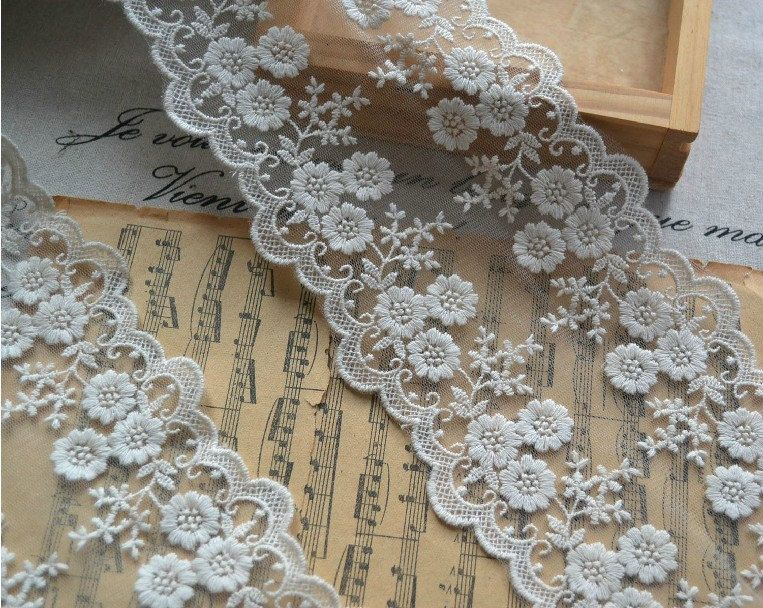 Embroidery Lace Trim Lace Cotton Embroidery  1Yards 10.5cm Wide. $3.00, via Etsy.