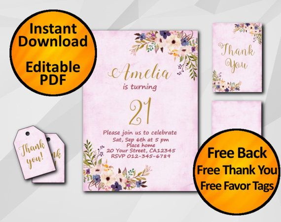 21st birthday invitation with back thank you card by digiinvites, Wedding invitations