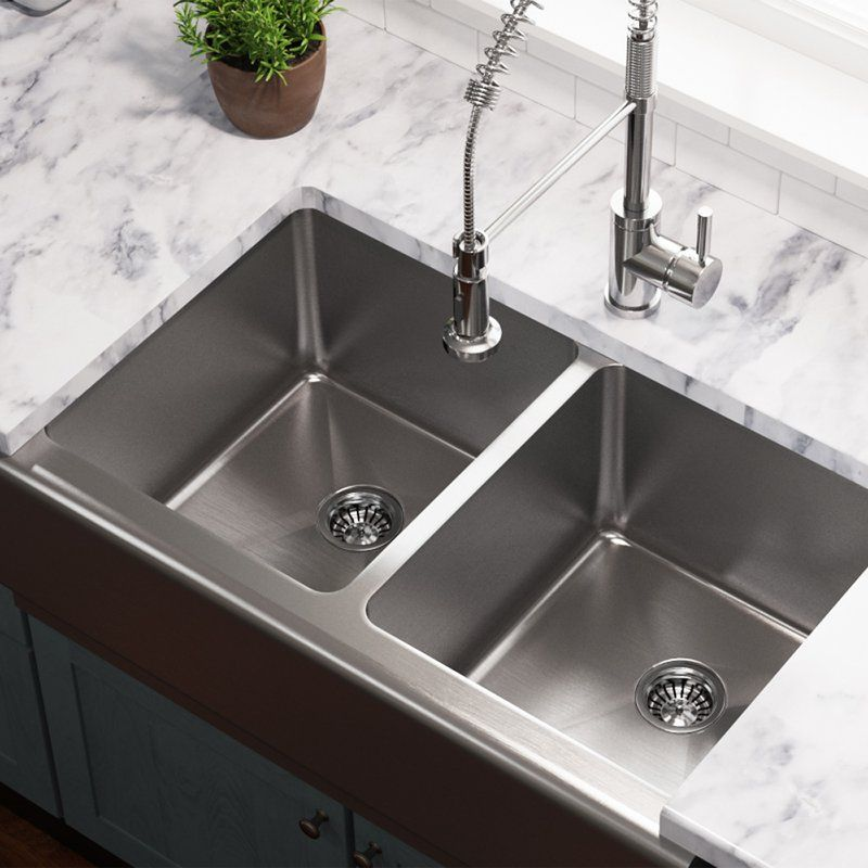 Stainless Steel 33 X 20 Double Basin Farmhouse Apron Kitchen Sink With Images Stainless Steel Farmhouse Sink Kitchen Fittings Farmhouse Sink Kitchen