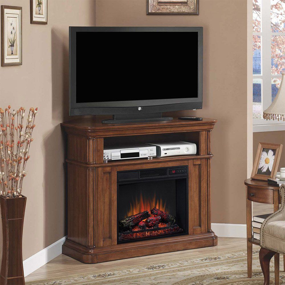 oakfield wall corner electric fireplace media center in premium