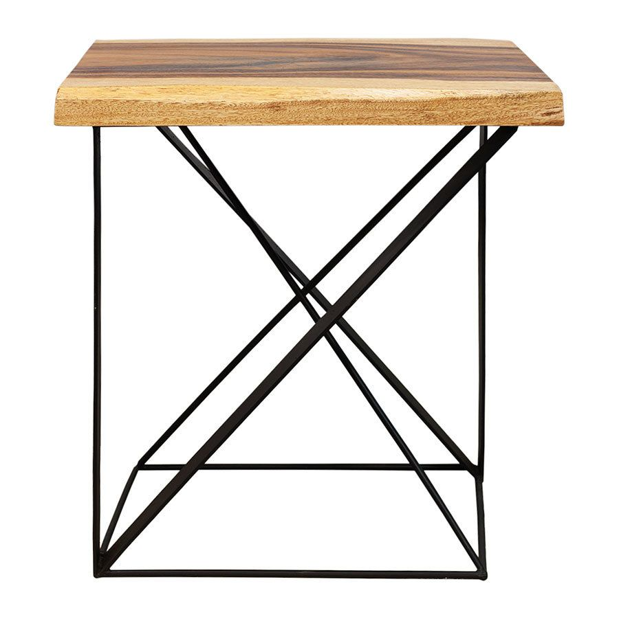 27 Inch Wood And Iron Side Table Pre Order No171 Mohr