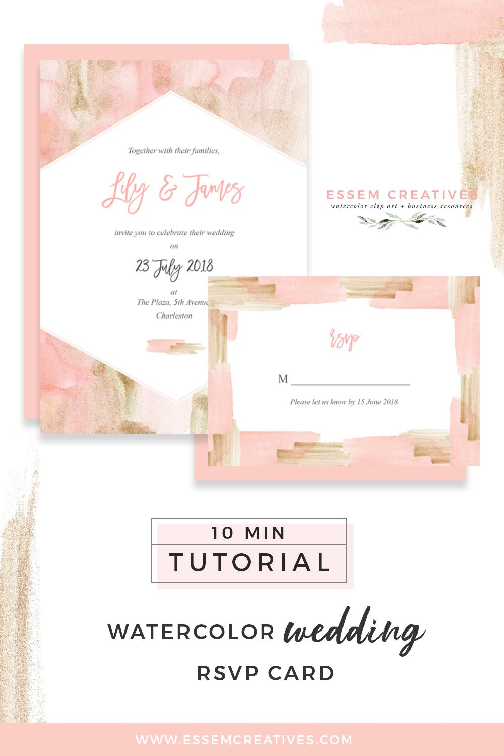 Make A Blush Pink And Gold Watercolor Rsvp Card Using Digital