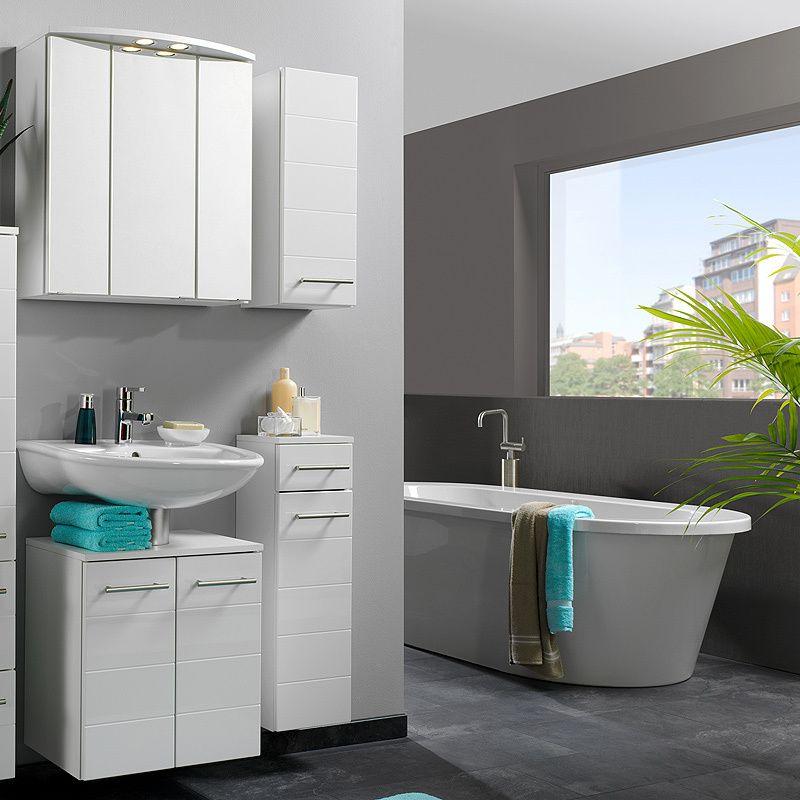 Badmöbel Set »RIMINI222« Hochglanz weiß Jetzt bestellen unter - badezimmermöbel weiß hochglanz