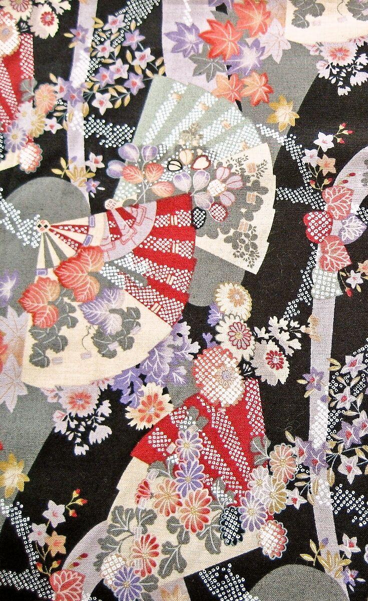 Blumen Und Facher Schwarz Stoff Aus Japan Muster Stoffe Stoffmuster Japandesign Pattern Musterkunst Japanische Stoffe Japanische Muster