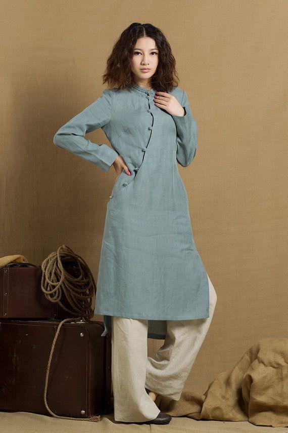 Linen Tunic Dress In Grey Blue / Linen Tunic Blouse / Longsleeve ...