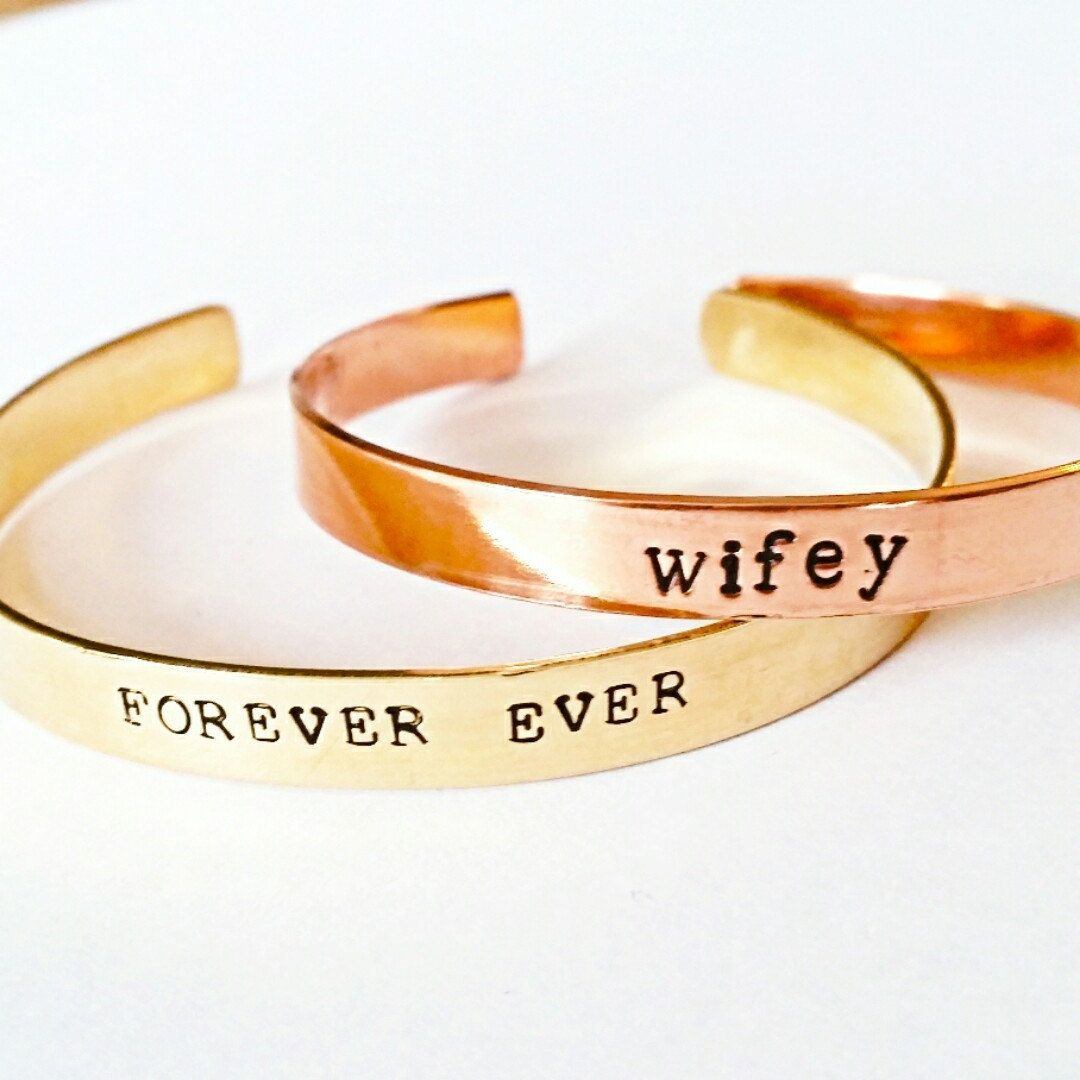 Gorgeous copper or brass! Your love on a handstamped bangle by Rockaway Gypsea is perfect for summer