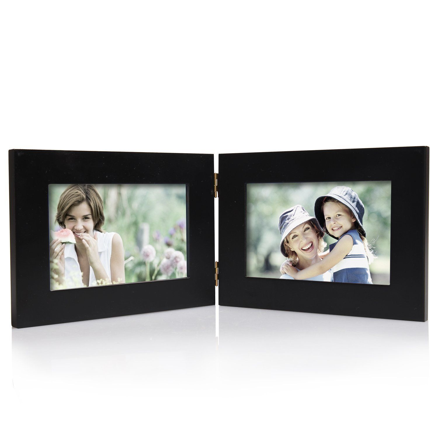 Adeco Black Wood Hinged 2-opening Table Top 4x6 Picture Frame (black ...